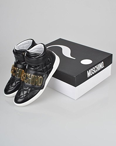 Moschino Logo Quilted Leather High Top Sneakers, Black (43)