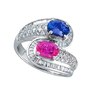 Morris & David Pink and Blue Sapphire and Diamond Ring 14K White Gold (2.90ct) - Q 1/2