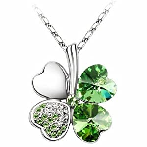 niceEshop(TM) Fashion New Swarovski Elements Crystal Four Leaf Clover Pendant Necklace 19