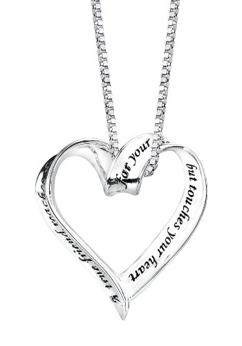 "Sterling Silver ""A True Friend Reaches For Your Hand But Touches Your Heart"" Ribbon Heart Pendant Necklace, 18"": Jewelry: Amazon.com"