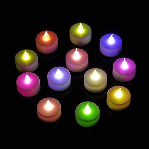 Ottff Rainbow Battery-Powered Flameless Color-Changing Led Tealight-Dozen