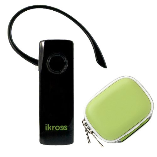 Ikross Wireless Bluetooth Handsfree Headset , Green Case