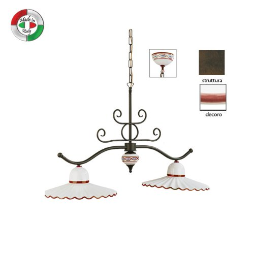 Lampadario bilancia in metallo e ceramica decorata classico marrone
