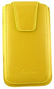 Emartbuy® Sleek Range Yellow Luxury PU Leather Slide in Pouch Case Cover Sleeve Holder ( Size 3XL ) With Magnetic Flap & Pull Tab Mechanism Suitable For Celkon A200