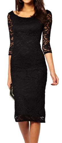 Made2envy Boat Neckline Lace Overlay Evening Midi Dress (S, Black) C6287S