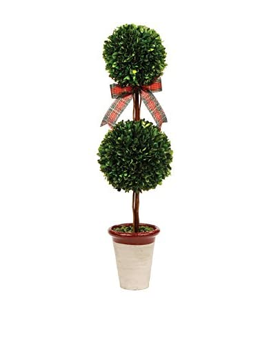 Napa Home and Garden 24 Double Ball Topiary with Plaid Ribbon