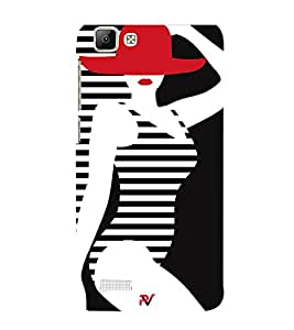 Sexy Girl Clipart Cute Fashion 3D Hard Polycarbonate Designer Back Case Cover for Vivo V1