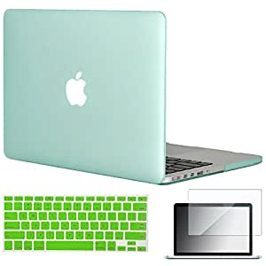 "Topideal 3in1 Frosted Matte Hard Shell Case Cover for Apple 13-inch MacBook Pro 13.3"" with Retina Display (Model A1502/ A1425) + Keyboard Cover + Screen Protector -Green"