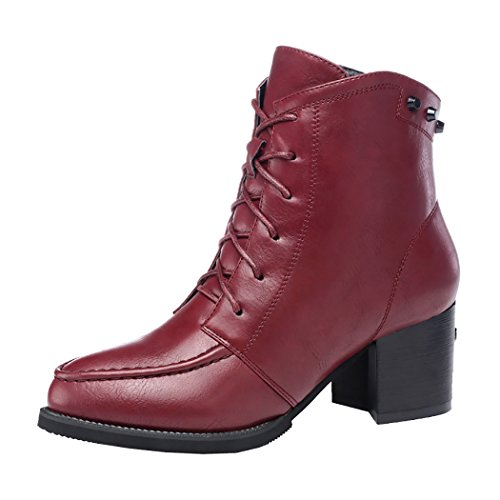Guciheaven Winter New Style British Rough Heels Short Boots (6 B(M)Us, Red)
