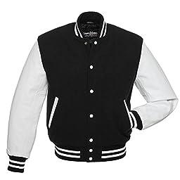 C101-S Black Wool White Leather Varsity Jacket Letterman Jacket
