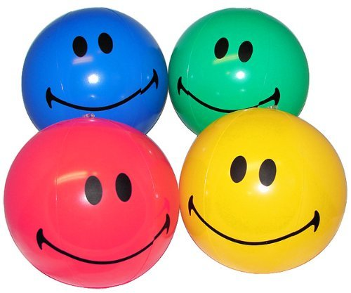 "Inflatable Beachballs - 12 SMILE Happy Face inflate beach balls - assorted colors - small 8"" size"