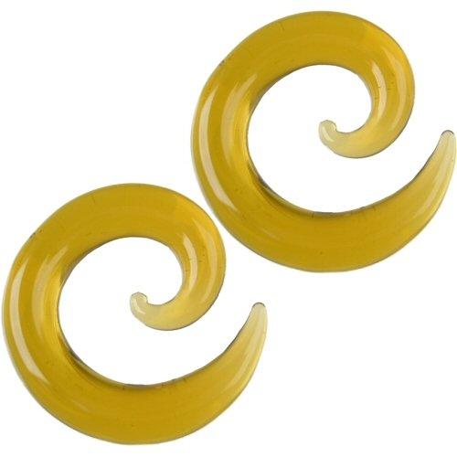 Pair of Glass Spirals: 000g Honey