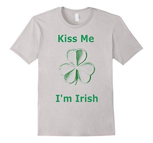 [Men's Kiss Me I'm Irish T-Shirt Large Silver] (Kiss Me Im Irish Costume)