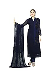 A R Fashion Hub Women's Georgette Unstitched Dress Material(2257_Blue_FreeSize)