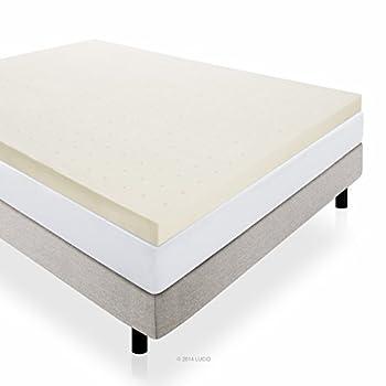 LUCID 4 Inch Memory Foam Mattress Topper 3-Year Warranty - Queen