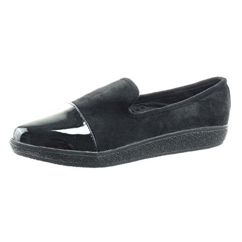 Sopily - Scarpe da Moda Mocassini bi-materiale alla caviglia donna lucide verniciato Tacco zeppa piattaforma 2 CM - Nero CMD-2-B011 T 38