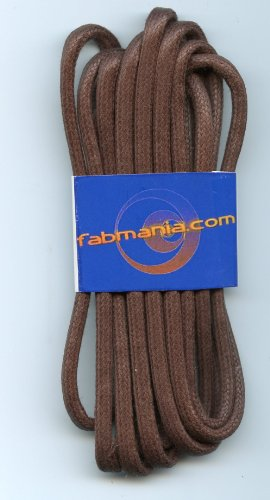 Waxed cotton boot laces Brown 5mm diameter