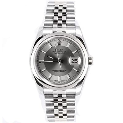 Rolex Mens New Style Heavy Band Stainless Steel Datejust Model 116200 Jubilee Band Stainless Steel Smooth Bezel Silver/Slate Stick Dial