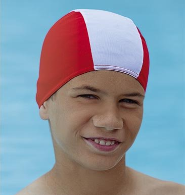 Childs Childrens Swimming Hat Swim Cap Fabric Non Pull Fashy Red & White, Blue & White, Black & White