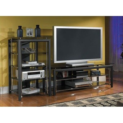 Cheap Midnight Mist 60″ Flat Panel TV Stand with Audio Rack in Black and Chrome (AD44840-03, VS44850-03)