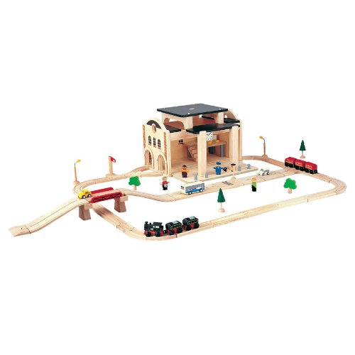 41Wbhat3evL Cheap Buy  PlanToys Road & Rail Railway Station Play Set