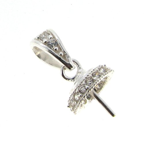 1 pc .925 Sterling Silver Clear Cz Crystal Bail Pin With 8mm Cup Pearl Pendant Charm Connector for Half Drilled Pearl / Stone / Findings / Bright