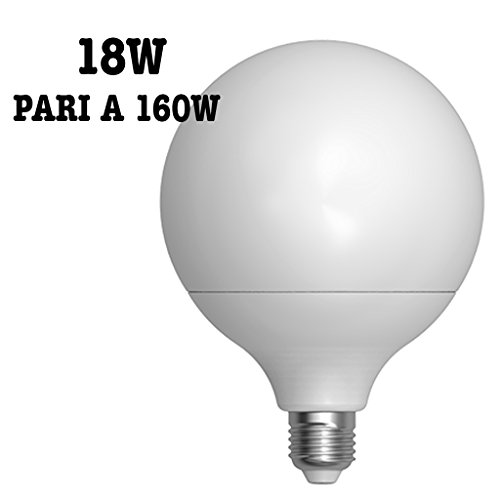 LAMPADA LED 18W = 160 WATT E27 1600 LUMEN BIANCO CALDO 3000°K SFERA OPACA GLOBO