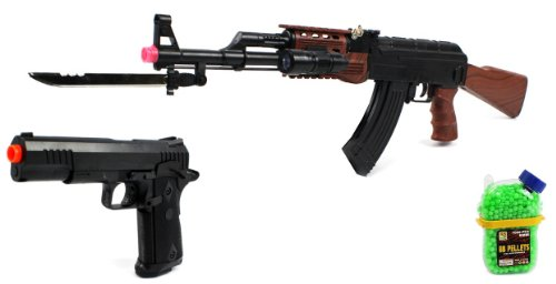 (Combo) Velocity Airsoft Ak-47 585+ Spring Airsoft Gun Fps-200 + Marine Corp Electric Blowback Airsoft Pistol Semi Auto Fps-180 + 1000 Bb'S Clip-On Holster Container