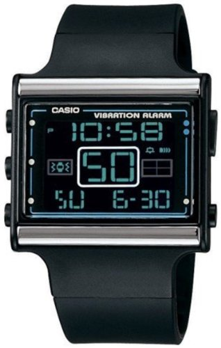 Casio Women's Vibration Alar LDF10-1A Black Resin Quartz Watch with Digital Dial