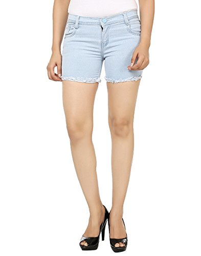 Ico Blue Stor Light Blue denim Shorts for Women (32)