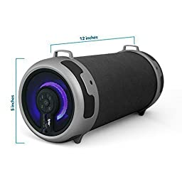 Tyler Portable Wireless Bluetooth Stereo Cylinder Speaker TWS401-BK with LED Light, FM Radio, AUX and MicroSD/TF Card Imput | Black |