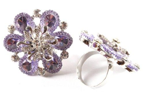 Ladies Purple Spiral Centered Flower Metal Adjustable Finger Ring