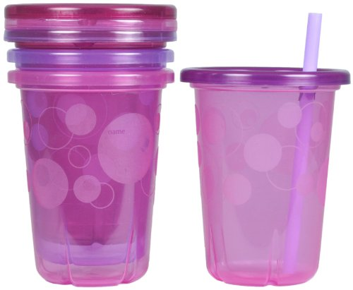 The First Years Take & Toss 10oz Straw Cups- 4 Pack-Girl