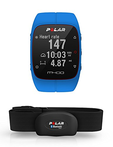 Polar M400 Orologio Gps con Fascia Cardio Bluetooth Smart per Corsa Outdoor e Indoor, Blu