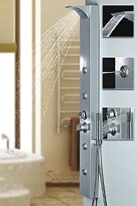Silbernes Alu Duschpaneel Duschsäule mit Wasserfall und Massagedüsen silber Sanlingo  BaumarktÜberprüfung und Beschreibung