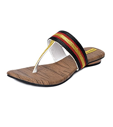 Indirang Women's Black And Red Partywear Flats AB606 (multicolor)