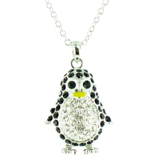 Black And Clear Crystal On Silver Plated Bling Penguin Necklace front-672399