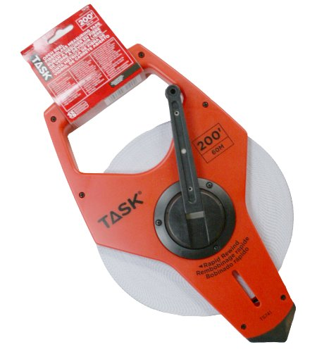 Task Tools TS741 200-Feet Open Reel Fiberglass Tape Measure with  3X Gear Drive