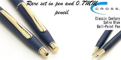 cross-classic-century-satin-blue-ball-point-pen-and-05mm-pencil-with-23-karat-gold-appointments-by-c