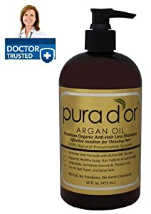 Pura d'or Premium Organic Anti-Hair Loss Shampoo (Gold Label), 16 Fluid Ounce by pura d'or [Beauty]