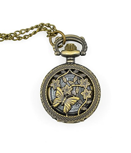 CHOP MALL® Vintage Bronze Butterflies Carve Shape Pendant Necklace Pocket Watch (Robot Watch Vintage compare prices)