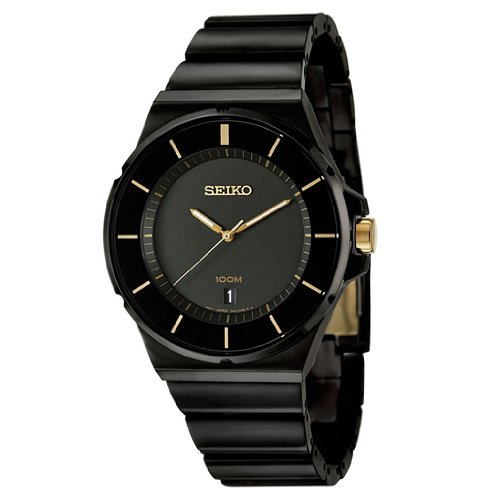 Seiko Men's SGEG19 New Collection Classic Black Ion Finish Watch