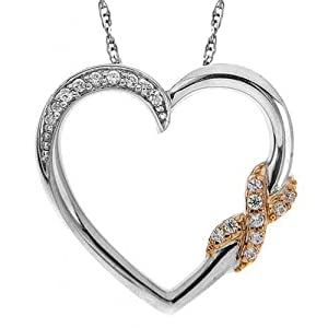 "10k White Gold/14k Pink Plating Diamond Hugs and Kisses Heart Pendant Necklace, 1/10 Cttw, 18"" by Amazon Curated Collection"