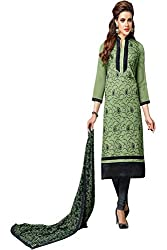 ZHot Fashion Women's Embroidered Un-stitched Dress Material In Cotton Fabric (ZHDM1017) Green