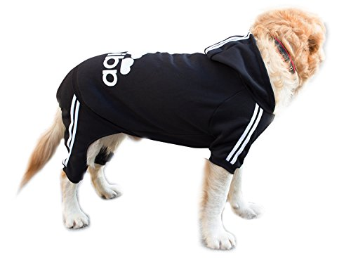 Scheppend Adidog Large Dog Hoodies Sweatshirt Pet Winter Coat Sports Clothes Apparel,Black 9XL