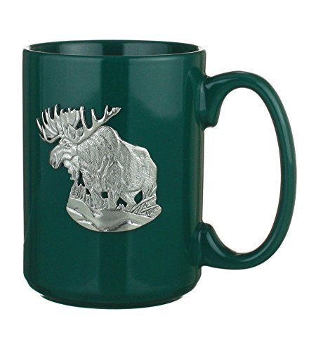 Heritage Pewter- Ceramic 15 Ounce Coffee Tea Mug Cup (Moose (Dark Green))
