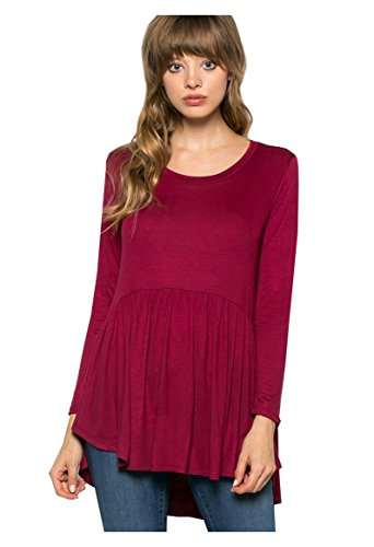 My Space Clothing Women's Baby doll Jersey Tunic Top (Plus size Available) (Medium, 92_Burgundy) (Babydoll Tops For Women compare prices)