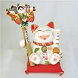 開運熊手をもった招き猫「白雲笑助」小
