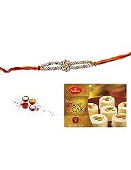 Golden N Silver Beads Rakhi With Soan Cake