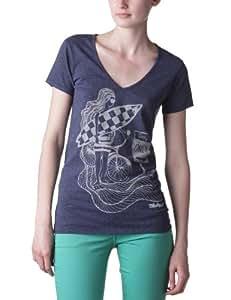 Oxbow Toko T-shirt manches courtes col V jersey coton moucheté femme Navy 1